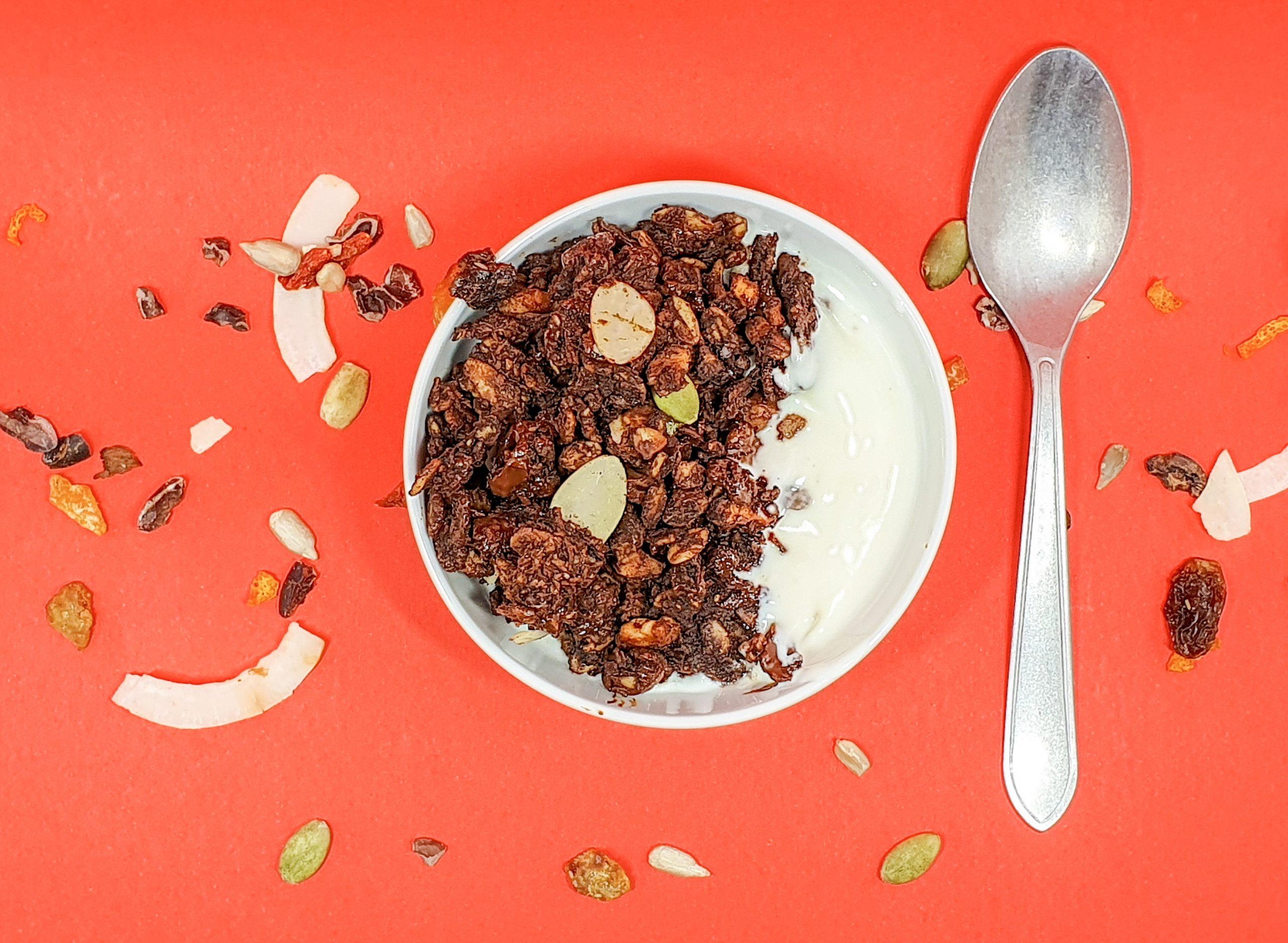 Small bowl with healthy chocolate sea salt granola with yogurt