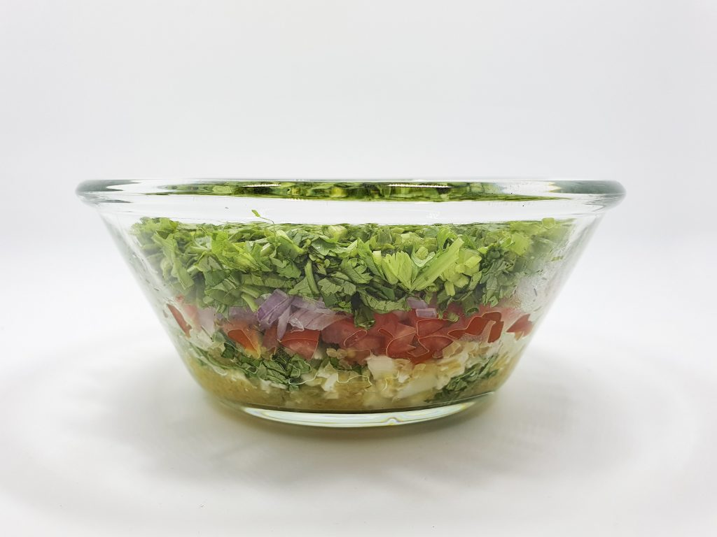 Low carb tabbouleh layers