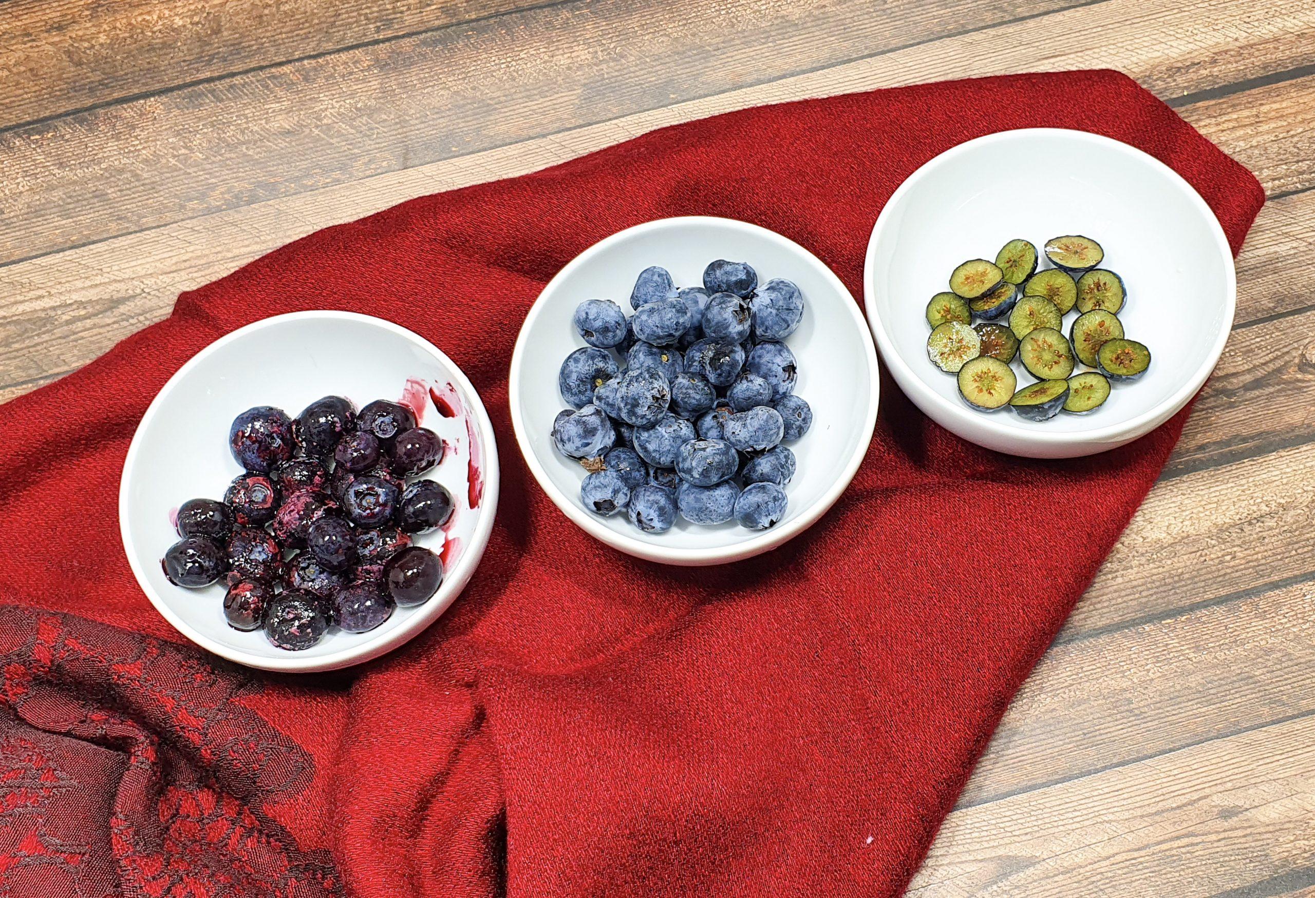 Frozen, fresh and sliced blueberries