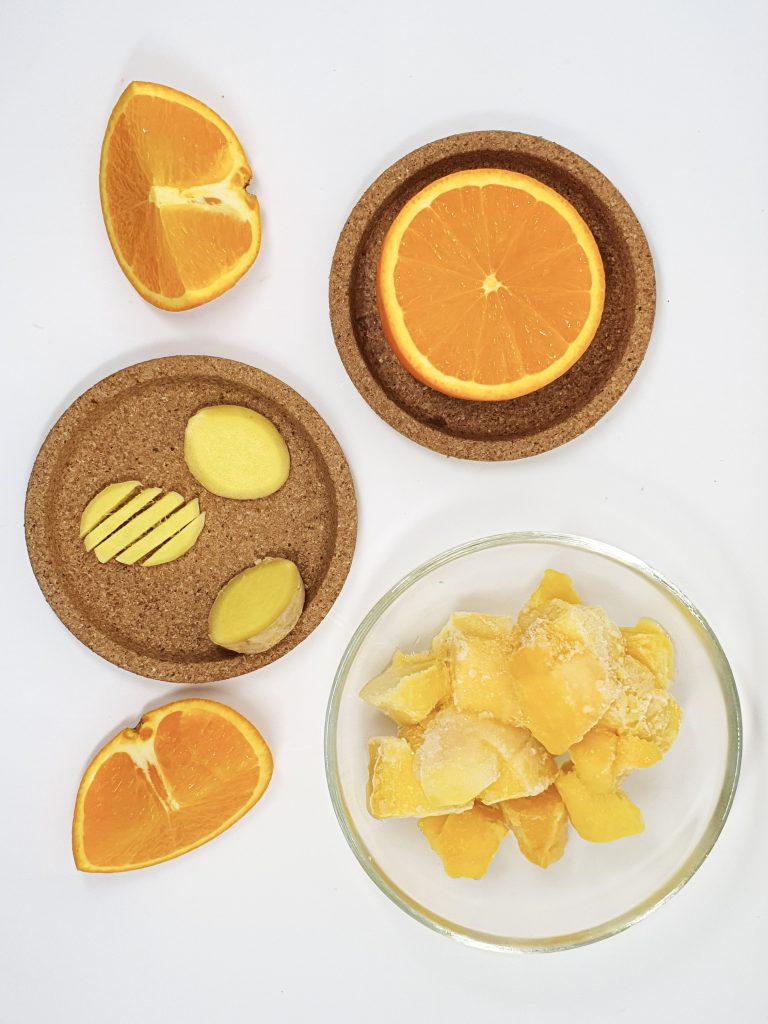 Ingredients for orange mango smoothie