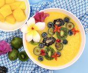 Orange mango smoothie bowl
