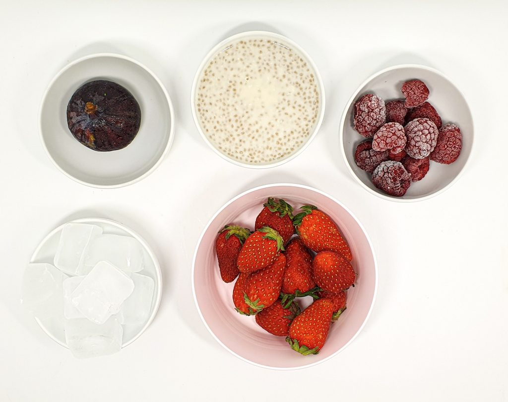 Ingredients for chia pudding with berries nice cream