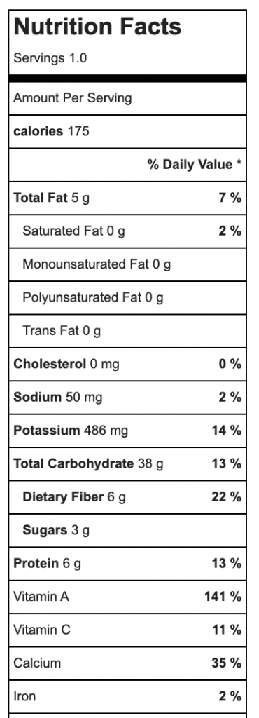Nutritional values for red rice porridge