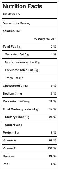 Orange mango smoothie nutritional values